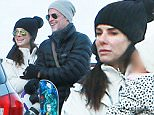 EXCLUSIVE. COLEMAN-RAYNER. \nDecember 27, 2015. Jackson Hole, WY USA \nUS Actress Sandra Bullock enjoys a family winter vacation with new boyfriend Bryan Randall and children Laila and Louis at the Jackson Hole Wyoming Ski Resort. Pictured here is Sandra Bullock, Laila Bullock and Bryan Randall saying goodbye to friends at the end of a day of skiing.\nCREDIT LINE MUST READ: Coleman-Rayner.\nTel US (001) 310-474-4343 - office¿\nTel US (001) 323 545 7584 - cell\nwww.coleman-rayner.com