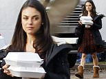 147070, EXCLUSIVE: Mila Kunis seen wearing a red and black dress, a jacket and a pair of comfortable brown Uggs as she grabs food during her lunch break on the set of Bad Moms in New Orleans. New Orleans, Louisiana. Photograph: © PacificCoastNews. Los Angeles Office: +1 310.822.0419 sales@pacificcoastnews.com FEE MUST BE AGREED PRIOR TO USAGE