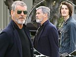Please contact X17 before any use of these exclusive photos - x17@x17agency.com   PREMIUM EXCLUSIVE - Action star Pierce Brosnan got some quality time with his son Dylan.  The towering teen, stood almost a full head taller than his father, and has recently experienced some success as an model.  Thursday, January 21, 2016. X17online.com