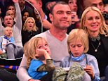 NEW YORK, NY - JANUARY 22:  Samuel Schreiber, Liev Schreiber, Alexander Schreiber and Naomi Watts attend the Los Angeles Clippers vs New York Knicks game at Madison Square Garden on January 22, 2016 in New York City.  (Photo by James Devaney/GC Images)