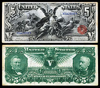 "$5 Silver Certificate, Series 1896, Fr.270, depicting allegory entitled ""Electricity Presenting Light to the World"""