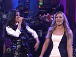 Ronda Rousey is the host on SNL this week. Here she does her intro