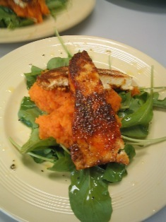 panir steak on sweet potato mash and rocket salad: