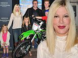 ANAHEIM, CA - JANUARY 23:  Actress Tori Spelling, actor Dean McDermott and their kids Jack McDermott, Liam McDermott, Fin McDermott, Hattie McDermott, and Stella McDermott attend Monster Energy Supercross at Angel Stadium of Anaheim on January 23, 2016 in Anaheim, California.  (Photo by Allen Berezovsky/WireImage)