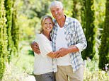 C4M2CF A Senior couple smiling in a garden. Image shot 2010. Exact date unknown.