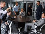 Film: The Big Short (2015), starring Jeremy Strong as Vinny Peters, Rafe Spall as Danny Moses, Hamish Linklater as Porter Collins, Steve Carell as Mark Baum, Jeffry Griffin as Chris and Ryan Gosling as Jared Vennett.  Paramount Pictures and Regency Enterprises