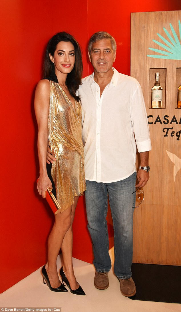 Picture perfect: Amal was preened to perfection as always on the night of the bash