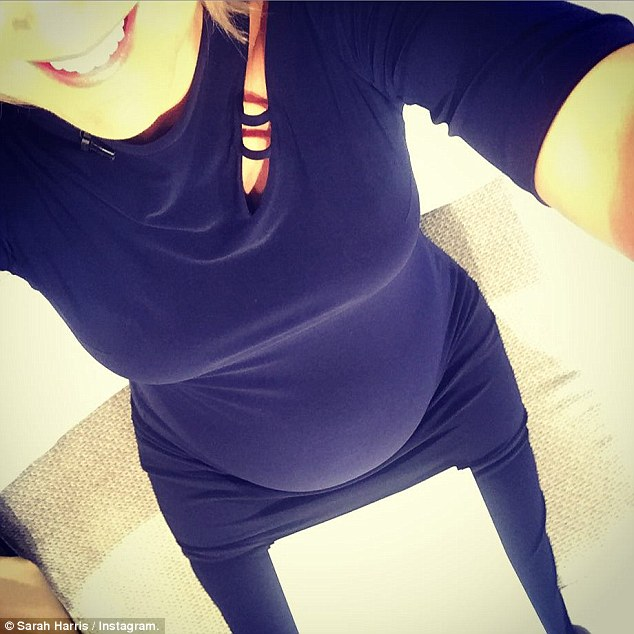 Pop! On Tuesday Sarah joked her bump was a 'burrito or a baby' as she showed off her shape in a navy gown