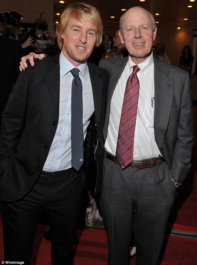 Best buds: Owen and his dad Robert A. Wilson, better known as Bob, at the star's LA premiere for Marley And Me in 2008