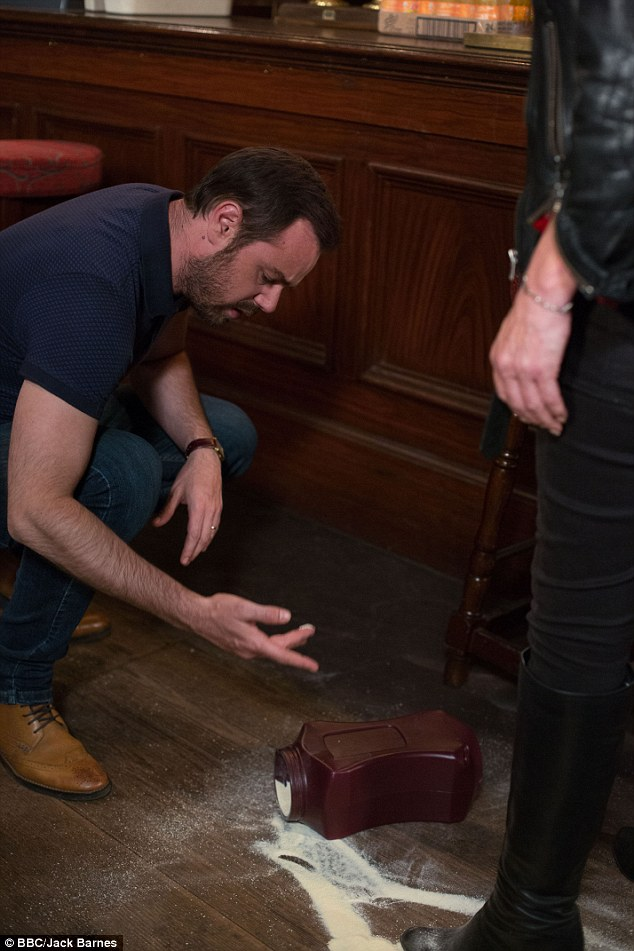 Not the ashes after all: During the fracas between Mick and Shirley, the urn falls to the pub floor, and everyone is stunned to find the contents aren't Stan's ashes
