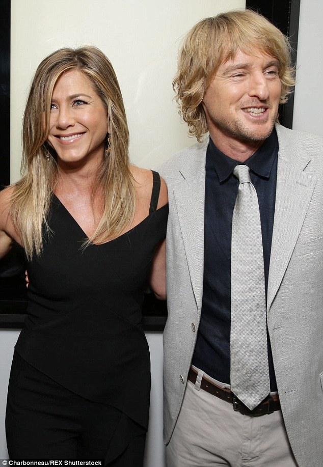 Dad missed out: Owen and co-star Jennifer Aniston teamed up for the LA premiere of She's Funny That Way. Talking about his father he said, 'you just have to deal with it'