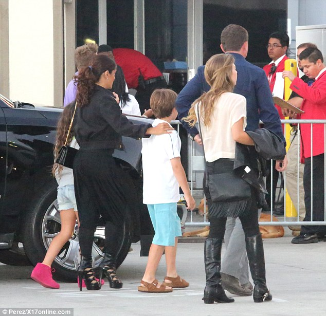 In good company: Salma accompanied a couple children into the venue, one of whom was likely her daughter Valentina