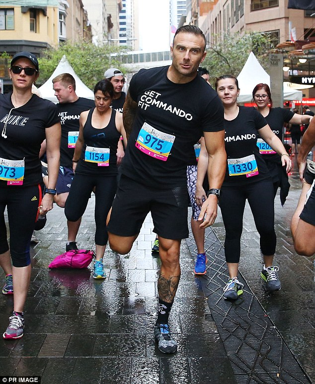 Stepping up for the cause: Steve 'Commando' Willis didn't hold back on showing off his athletic credentials on Sunday as he climbed 1,504 stairs in Sydney