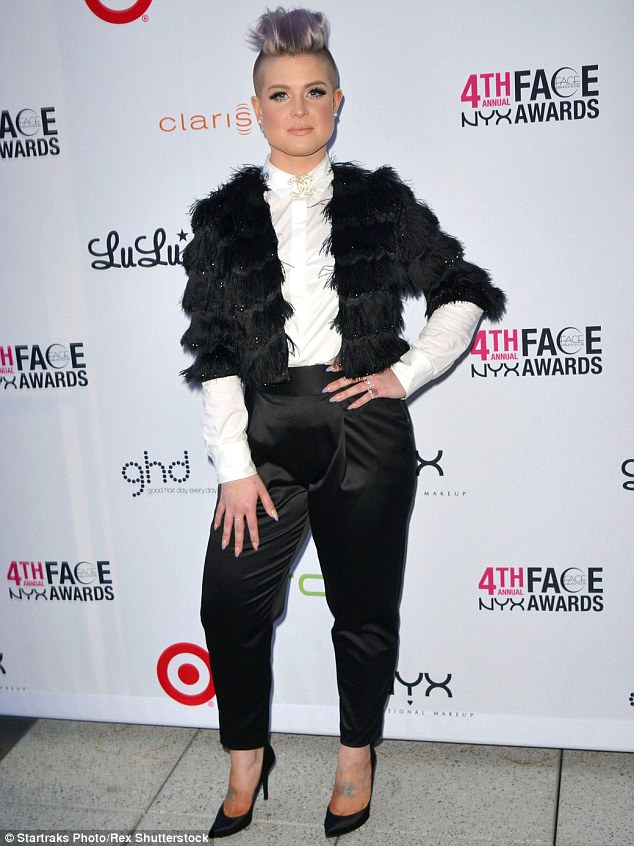 Edgy: Kelly Osbourne showcased her edgy style on the red-carpet at a beauty awards in Los Angeles on Saturday night