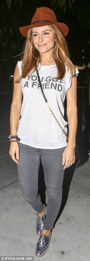 Hip: Maria Menounos sported a loose-fitted T-shirt emblazoned with 'You got a friend,' paired with grey skinny jeans
