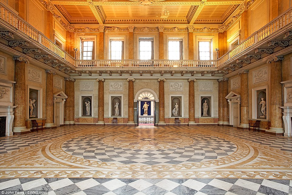 If made, the programme will most likely focus on the family's real-life feuds as they built one of the biggest private homes in Europe. Above, the incredible 60-foot by 60-foot marble saloon, which was once dubbed the finest Georgian room in England