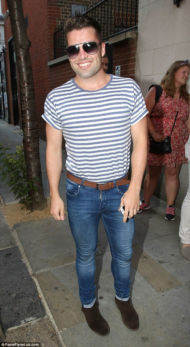 Looking good: Joe McElderry showcased his muscular new frame as he left the final performance of Sweet Charity at London's Cadogan Hall on Saturday night