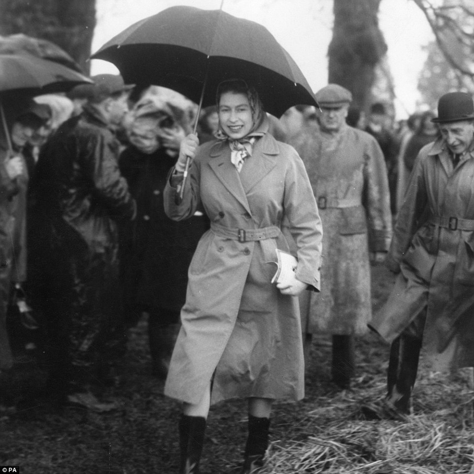 Wellies and brollies: The Queen at Badminton Horse Trials on April 16, 1959. The monarch has been a frequent visitor at the three-day event for many years