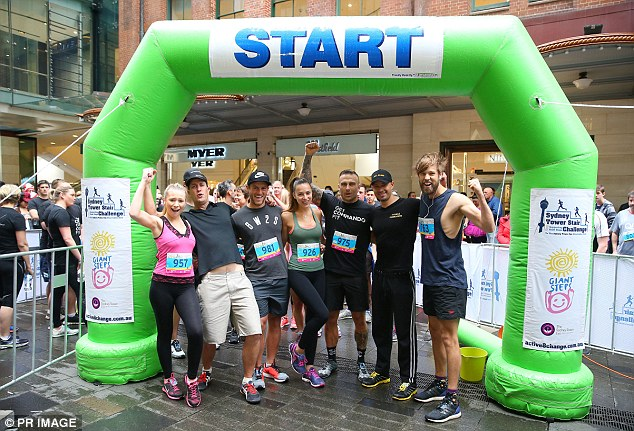 Fitness enthusiasts: Taking on the mighty challenge alongside Steve was pageant Queen Monica Radulovic (pictured fourth from left) - the pair completed the race alongside a number of other enthusiastic participants