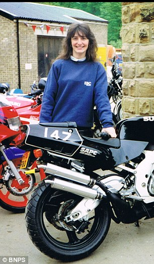 Mrs Ellis pictured in 1995, left, and 1985, right, previously said that it was always her dream to ride motorcyles