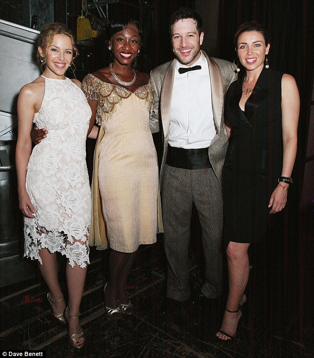 Picture perfect:Slipping backstage as the curtain dropped, Kylie and Dannii were on had to congratulate cast-members Beverley Knight and Matt Cardle, who joined the production in May