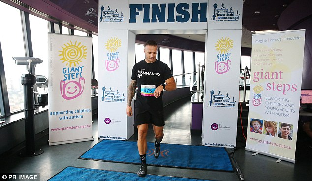 For a good cause: The 39-year-old Biggest Loser trainer showed off his incredibly muscular physique and as he competed in the Sydney Tower Stair Challenge to raise money for a charity that helps children with autism