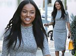 *EXCLUSIVE* West Hollywood, CA - As the sun is setting over Los Angeles, Karrueche Tran steps out in Weho for dinner with a friend. The actress wore a long grey dress and white sneakers and accessorized with a bright E. Goyard Saigon handbag. \nAKM-GSI      January 24, 2016\nTo License These Photos, Please Contact :\nSteve Ginsburg\n(310) 505-8447\n(323) 423-9397\nsteve@akmgsi.com\nsales@akmgsi.com\nor\nMaria Buda\n(917) 242-1505\nmbuda@akmgsi.com\nginsburgspalyinc@gmail.com