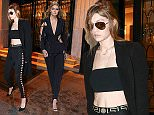 Picture Shows: Gigi Hadid  January 24, 2016\n \n Model Gigi Hadid is seen out and about in Paris, France. Gigi showed off her svelte figure in a midriff baring crop top and matching pantsuit.\n \n Non Exclusive\n UK RIGHTS ONLY\n \n Pictures by : FameFlynet UK � 2016\n Tel : +44 (0)20 3551 5049\n Email : info@fameflynet.uk.com