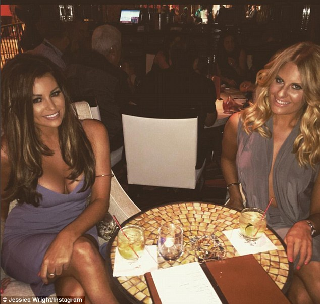 Dinner time: The TOWIE beauties enjoyed a meal and a drink at the Wynn Hotel in Las Vegas, before hitting a nightclub to take the evening further