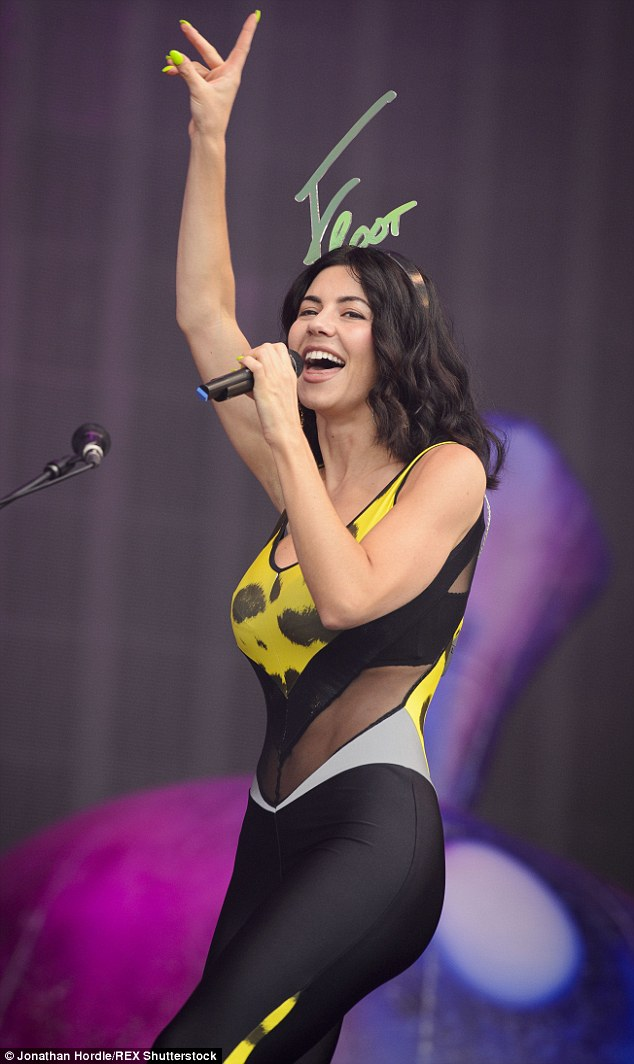 Skintight: Marina Diamandis - of Marina and the Diamonds - hit the stage miles away at V Festival's second location, Weston Park in Staffordshire