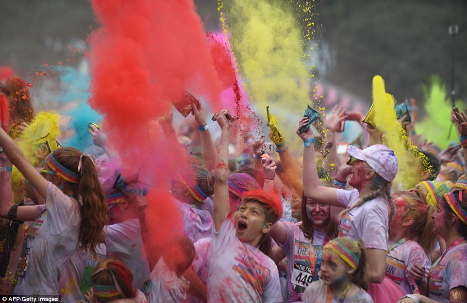 An explosion of colour ran through the streets of Sydney as a giant crowd of rainbow speckled people flocked to the city's centre for the second annual Colour Run