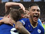 LEICESTER, ENGLAND - JANUARY 23 : Danny Simpson of Leicester City celebrates with goal scorer Jamie Vardy of Leicester during the Barclays Premier League match between Leicester City and Stoke City at the King Power Stadium on January 23 , 2016 in Leicester, United Kingdom.  (Photo by Plumb Images/Leicester City FC via Getty Images)