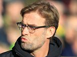 Liverpool Manager Jürgen Klopp looks on in the first half during the Barclays Premier League match between Norwich City and Liverpool at Carrow Road on Saturday 23rd January 2016\n\n