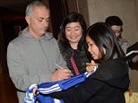Portuguese football manager Jose Mourinh, former head coach of Chelsea, poses with a Chinese fan at a hotel in Shanghai, China, 17 January 2016.  Pictured: Jose Mourinho Ref: SPL1210768  170116   Picture by: Imaginechina / Splash News  Splash News and Pictures Los Angeles: 310-821-2666 New York: 212-619-2666 London: 870-934-2666 photodesk@splashnews.com