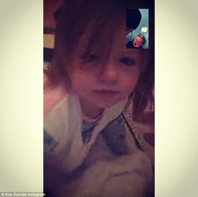 Sisterly love: She later shared this adorable screenshot of Kane on FaceTime with his twin sister Kaia while the doctor prepped Kane