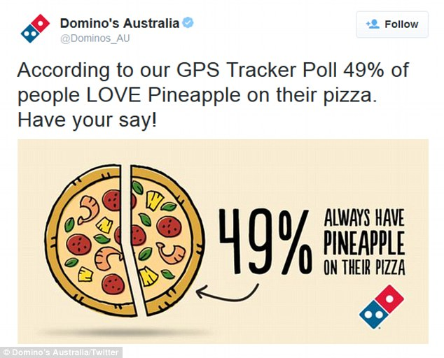 Domino's Australia posted a bizarre tweet just a day before the incident, claiming that 49% of people love pineapple on their pizza