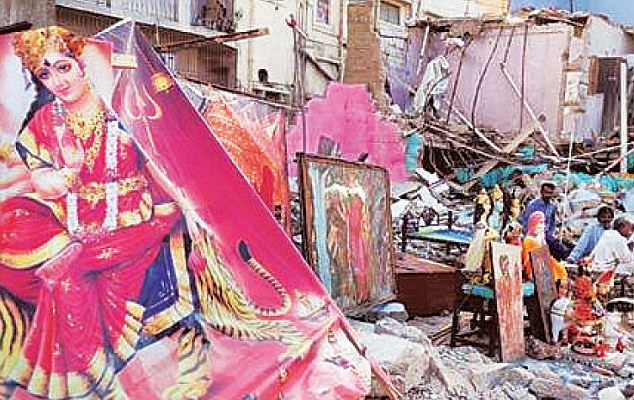 A temple lies in tatters in Pakistan. Hundreds of shrines across the country have reportedly been subject to trashing, or encroached on.
