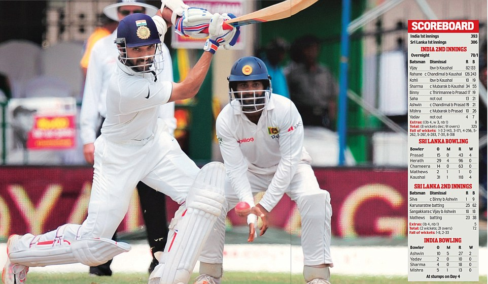 Riding on Ajinkya Rahane's sparkling century, India tightened the noose around Sri Lanka on the fourth day of the second Test in Colombo