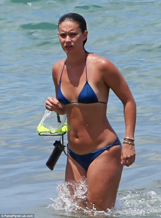 Having fun? The daughter of Rod's ex-wife Rachel Hunter, looked to be revelling in her swim as she even took to the water with a pair of large goggles, perfect for ogling at the exotic fish that glided amongst them