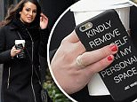 """Lea Michelle having her Starbucks while she is out and about in a winter day in New York City, as she holds her cell phone with a monogram that reads, """"Kindly remove yourself from my personal space"""" on Monday January 25th, 2016. \n\nPictured: Lea Michelle\nRef: SPL1214968  250116  \nPicture by: Luis Yllanes / Splash News\n\nSplash News and Pictures\nLos Angeles: 310-821-2666\nNew York: 212-619-2666\nLondon: 870-934-2666\nphotodesk@splashnews.com\n"""