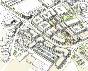 line drawing of Stoke-on-Trent proposed Central business District