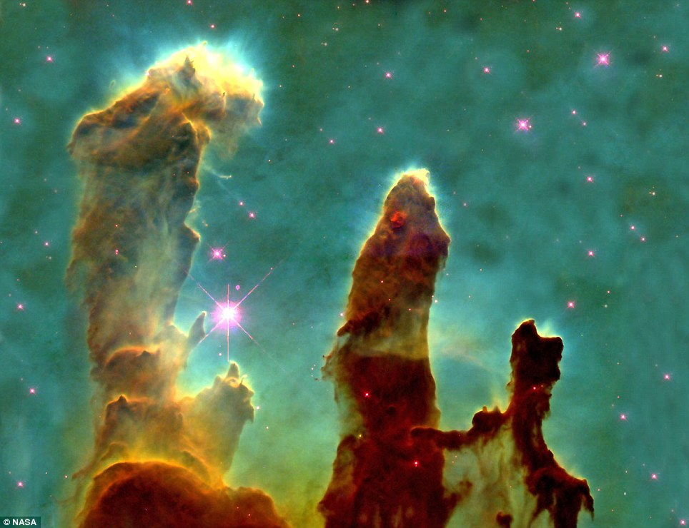 One of the most famous images of modern times: This image, taken with the Hubble Space Telescope in 1995, shows evaporating gaseous globules