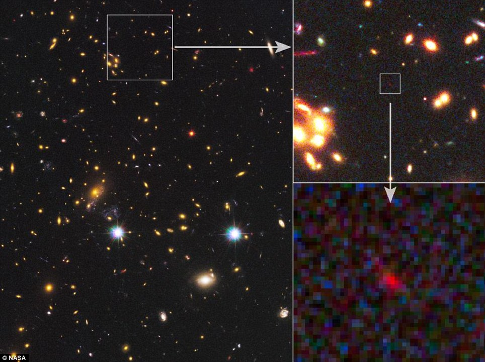 The furthest object we have ever seen: Hubble peers into the blackness and picks up the magnified rays of the MACS J1149+2223 cluster
