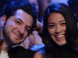 LOS ANGELES, CA - JANUARY 23: Actors Ben Schwartz and Gina Rodriguez attend the Danny Garcia and Robert Guerrero WBC championship welterweight bout at Staples Center January 23, 2016 in Los Angeles, California. (Photo by Kevork Djansezian/Getty Images)
