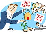 Gary Smith cartoon for Property Mail DM 21201/16 about buy-to-let, showing a house for rent & house for sale