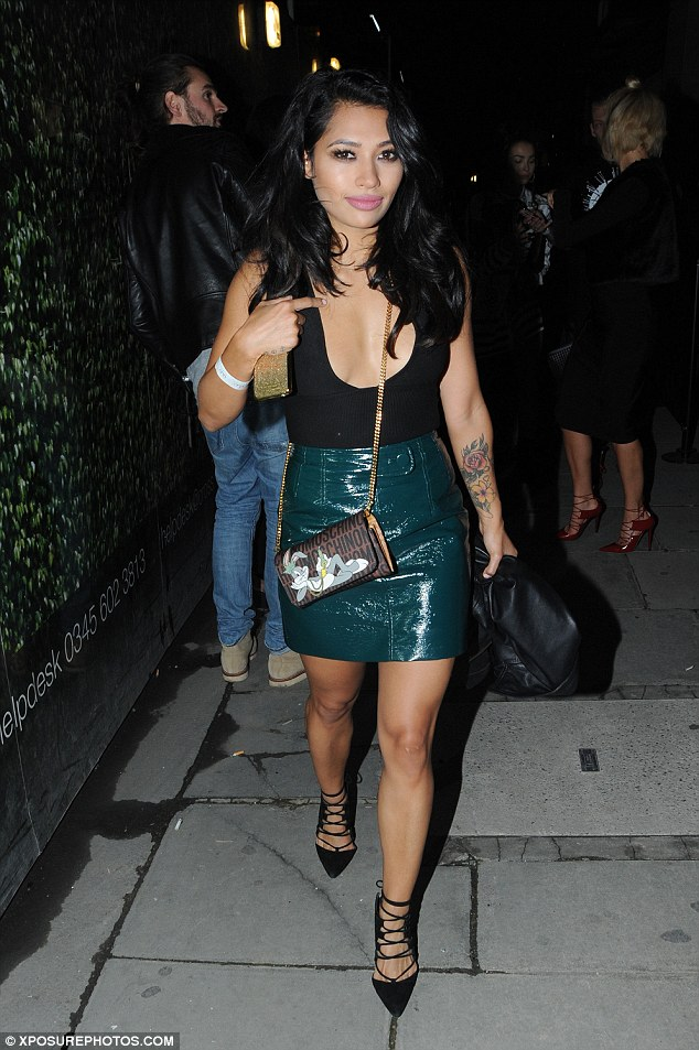Dare to bare: Vanessa White left little to the imagination when she stepped out at the Hunger Magazine Party in London's Mayfair dressed in a plunging vest top on Friday night