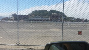 candlestick crumbles from center field  parking lot view