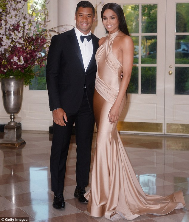 New couple alert! Ciara stepped out for the first time publicly with rumoured beau Russell Wilson at a state dinner at the White House in Washingon DC honouring Japanese Prime Minster Shinzo Abe and wife Akie Abe
