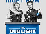 This image provided by Anheuser-Busch shows actors Amy Schumer and Seth Rogen in the company's Bud Light ad for Super Bowl 50. (Anheuser-Busch via AP)