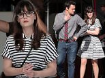 147363, EXCLUSIVE: Zooey Deschanel is spotted in a black and white striped dress on the set of 'New Girl' with Jake Johnson in LA. Los Angeles, California - Thursday January 28, 2016. Photograph: © PacificCoastNews. Los Angeles Office: +1 310.822.0419 sales@pacificcoastnews.com FEE MUST BE AGREED PRIOR TO USAGE